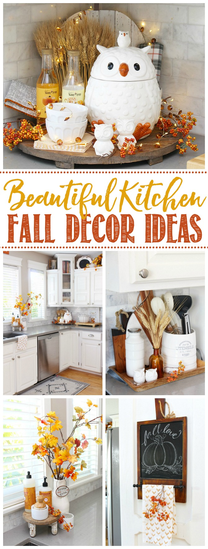 Collage of beautiful fall kitchen decor ideas.