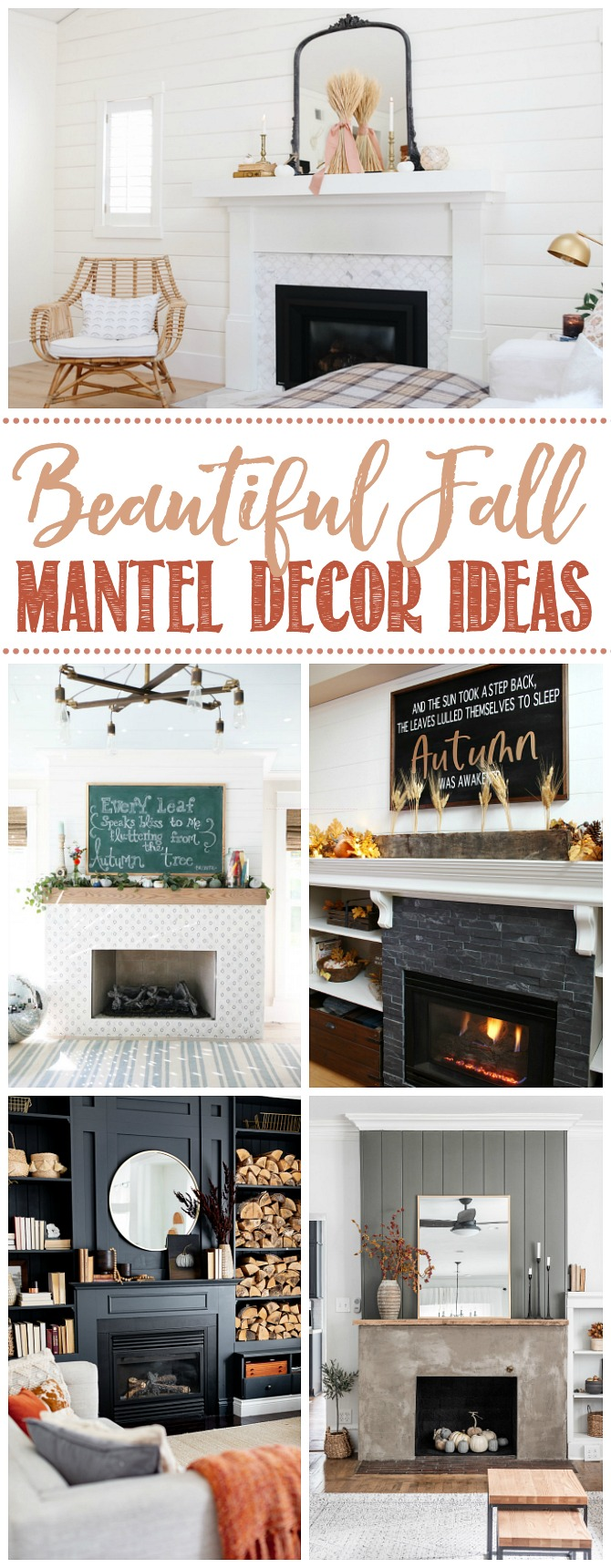 Beautiful collage of mantels decorated for fall.