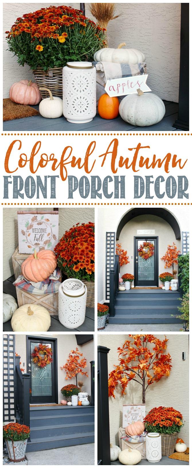 Colorful fall front porch decor ideas.