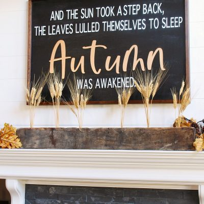 DIY fall sign using canvas and 1x2s.