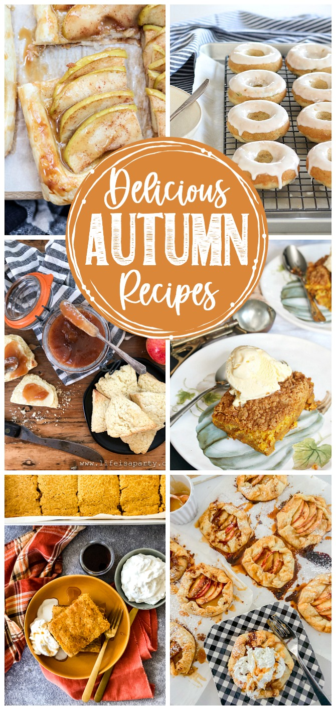 Collage of delicious fall desserts.