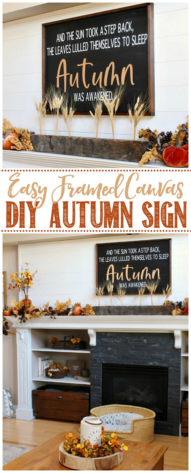 Framed canvas DIY fall sign used above a fall mantel.