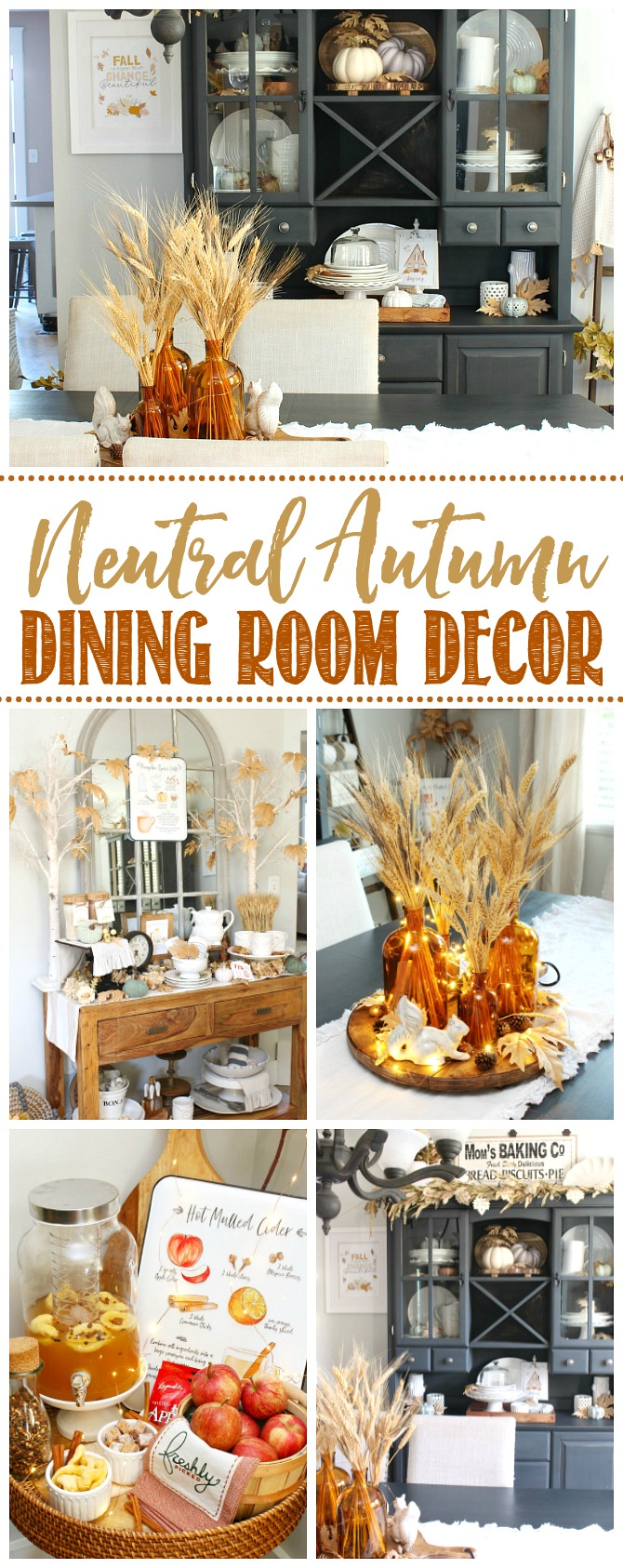 Neutral fall dining room decor ideas.