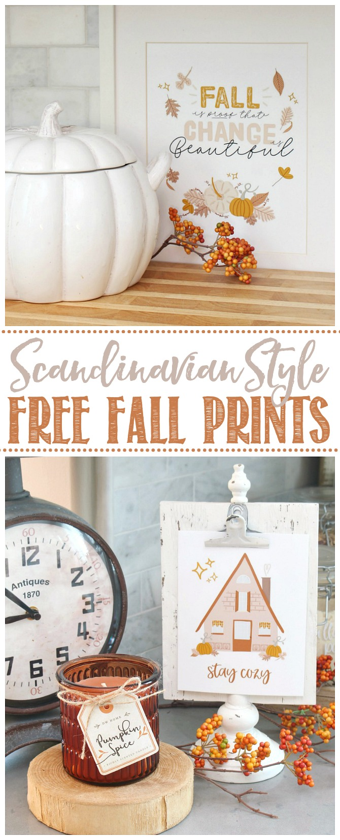 Collection of Scandinavian style free fall printables in muted fall colors.