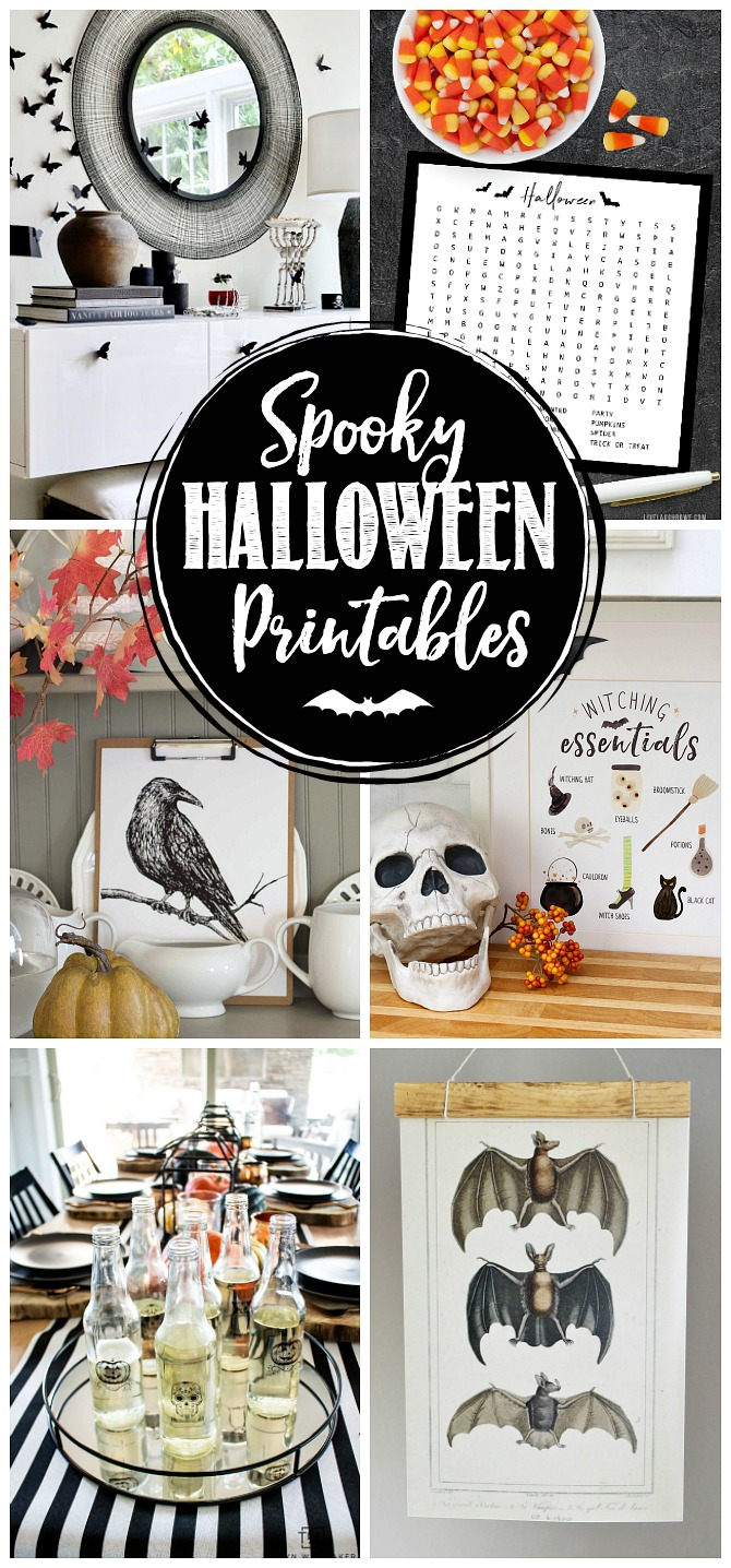 Collage of spooky Halloween printables.