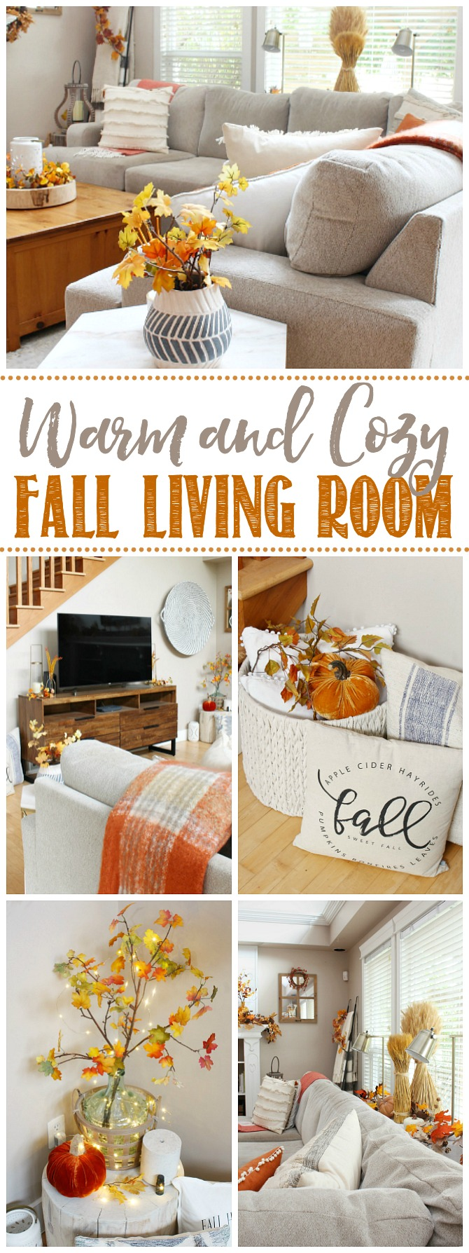 Collage of beautiful cozy fall living room decor ideas.