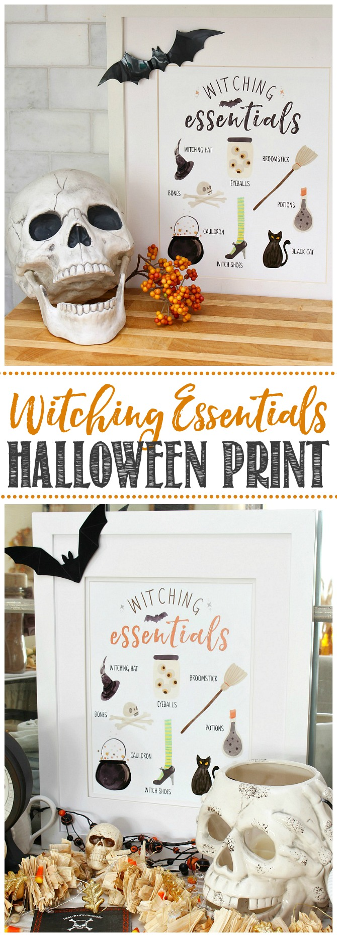 Witching Essentials Halloween printables in white frame with bat.