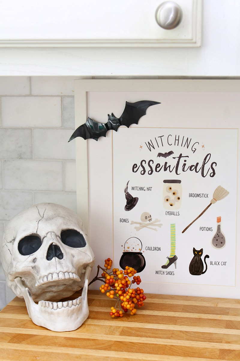 Witching Essentials free Halloween printables with skull.
