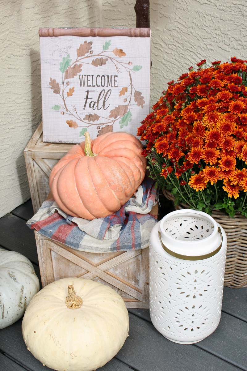 Colorful fall front porch with mums and pumpkins.