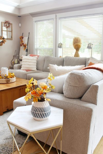 Modern farmhouse style living room decorated with traditional fall colors.