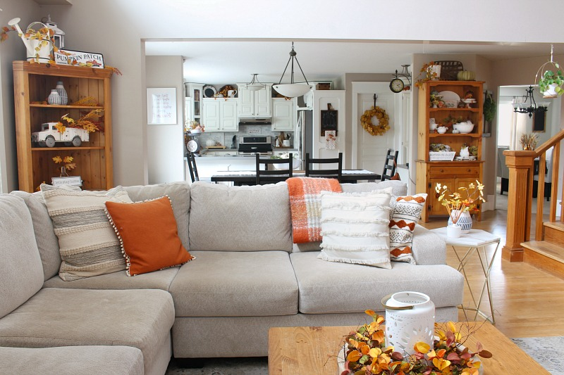 Cozy fall living decor in a farmhouse style living room.