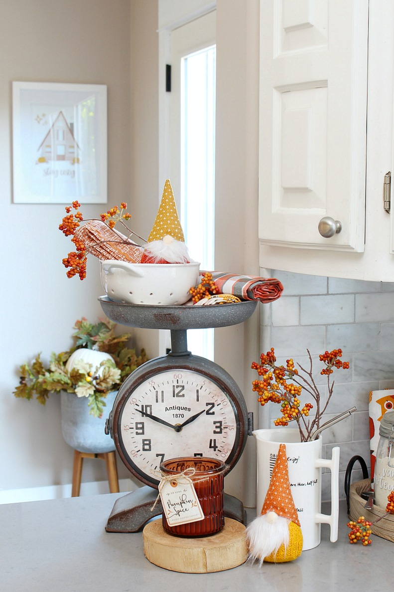 Simple fall kitchen decor with fall gnomes.