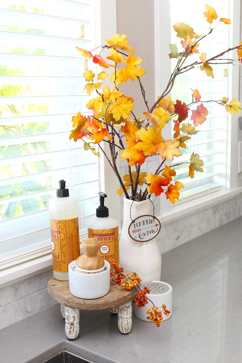Kitchen sink display for fall with faux fall stems and seasonal dish soaps.