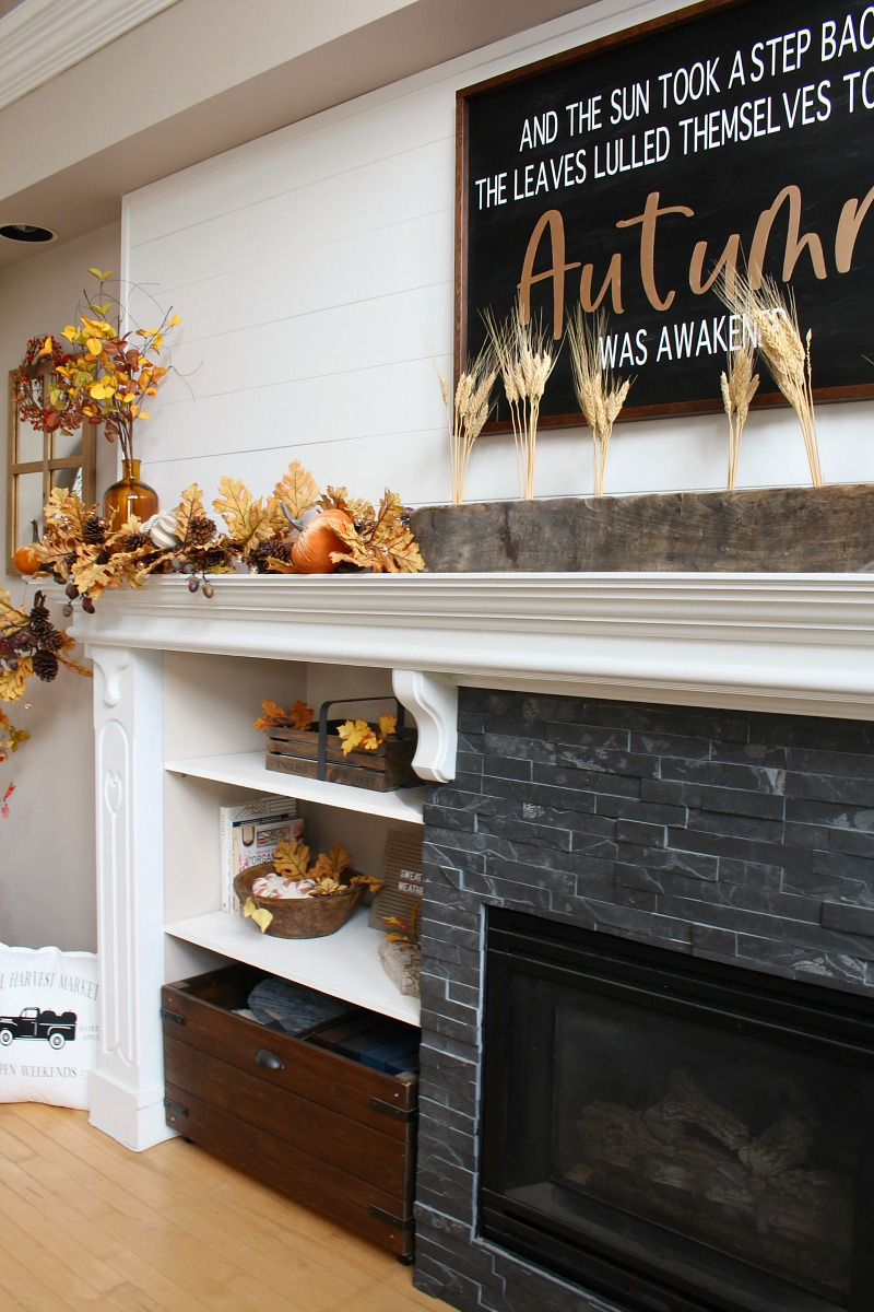 Pretty fall mantel decor ideas with golden oak and other natural elements.