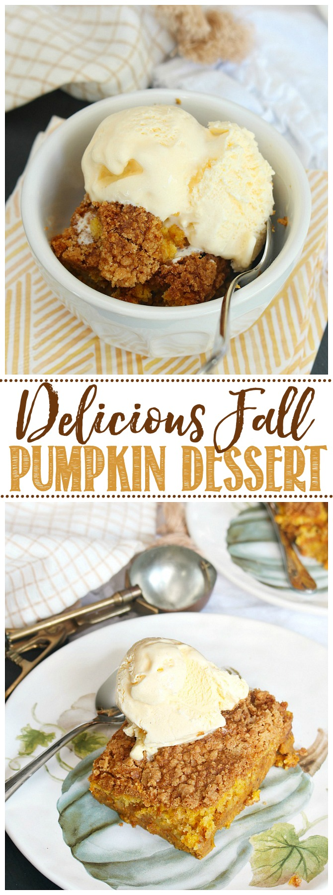 Pumpkin dessert with a bucket of vanilla ice cream.