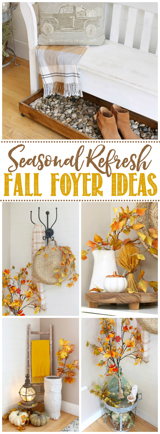 Collage of fall foyer ideas to add a seasonal touch.
