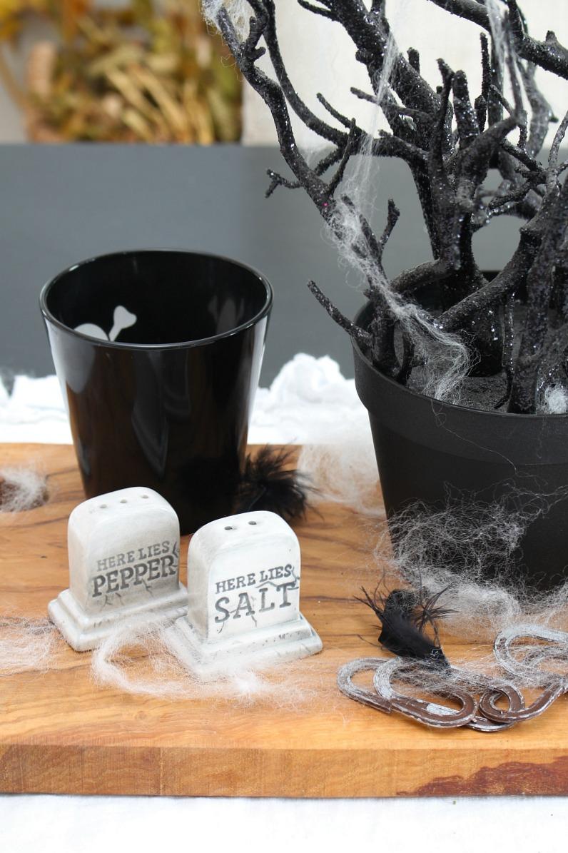 Here Lies Salt and Pepper Halloween salt and pepper shakers.