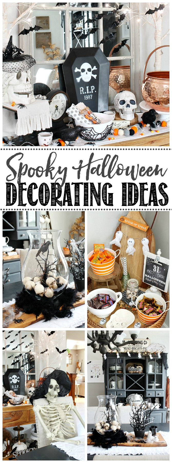 Collage of spooky Halloween decorating ideas.