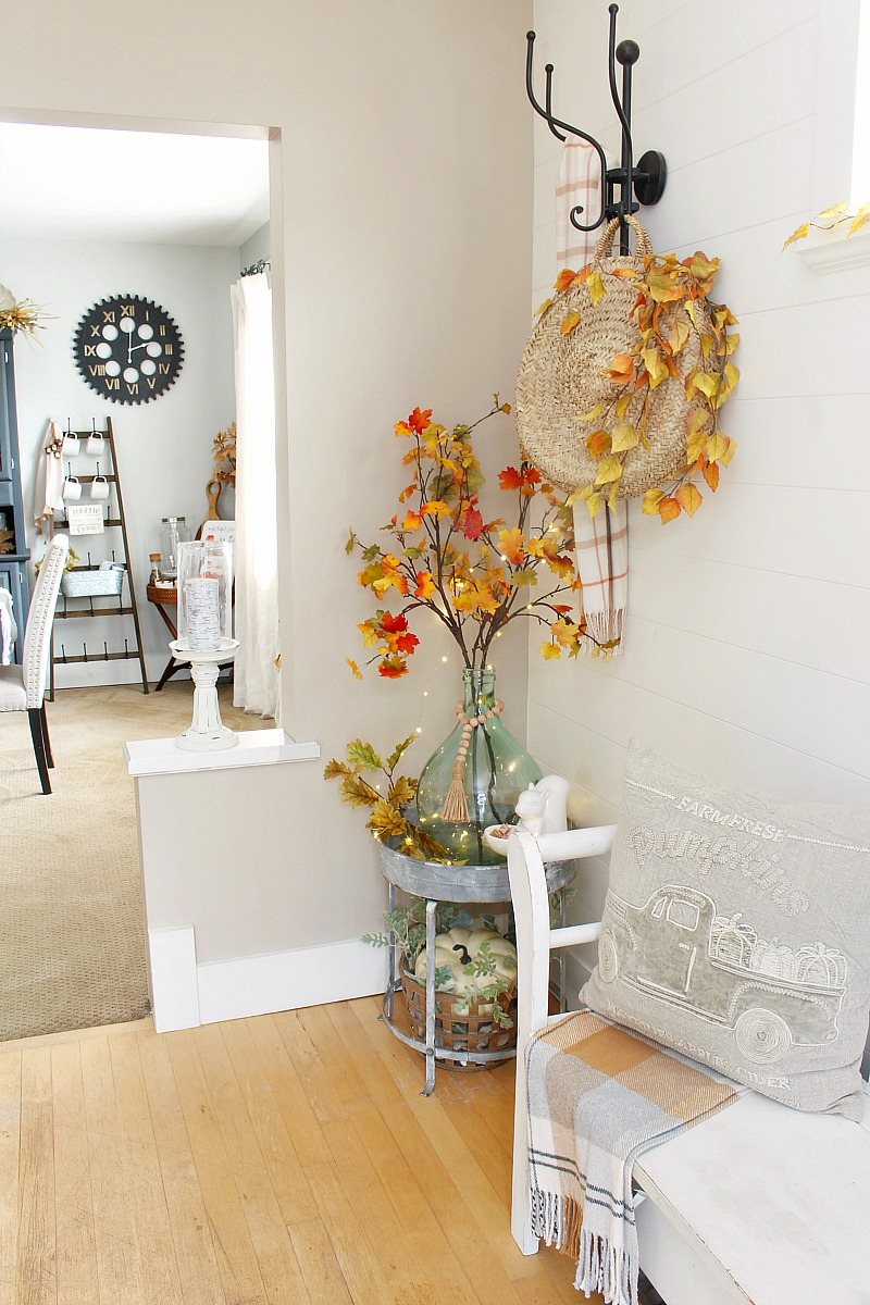 Front foyer decorated for fall.