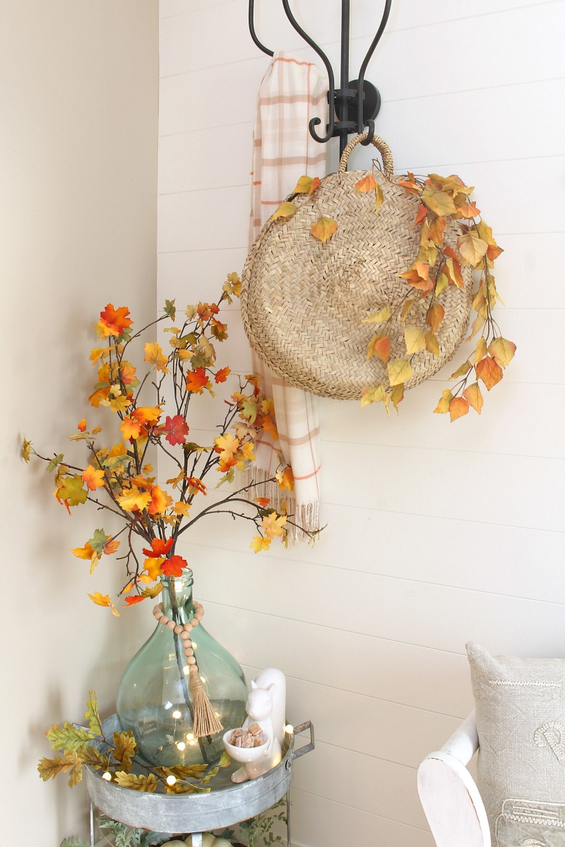 Fall front entryway with black iron coat hanger.