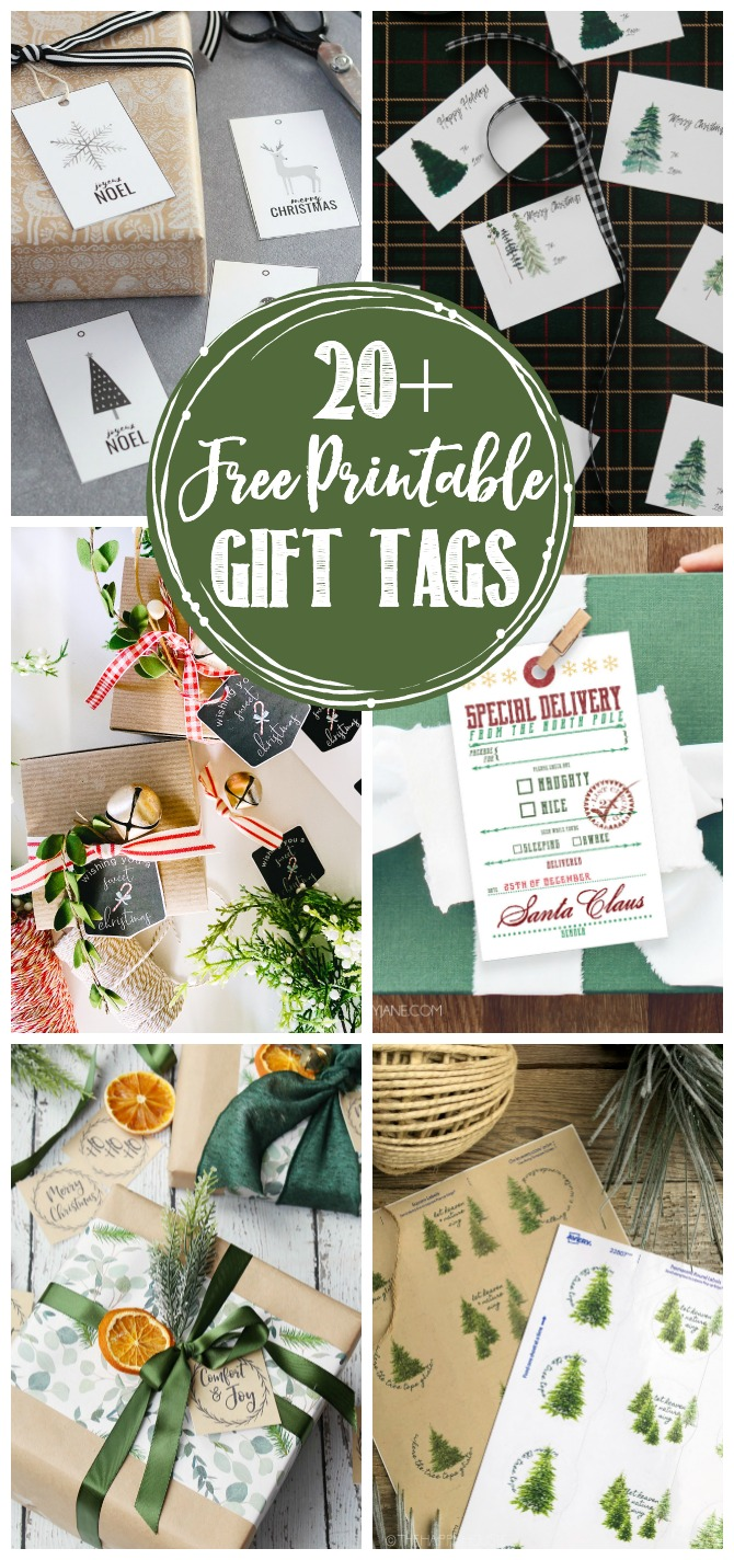 Collage of beautiful free printable Christmas gift tags.