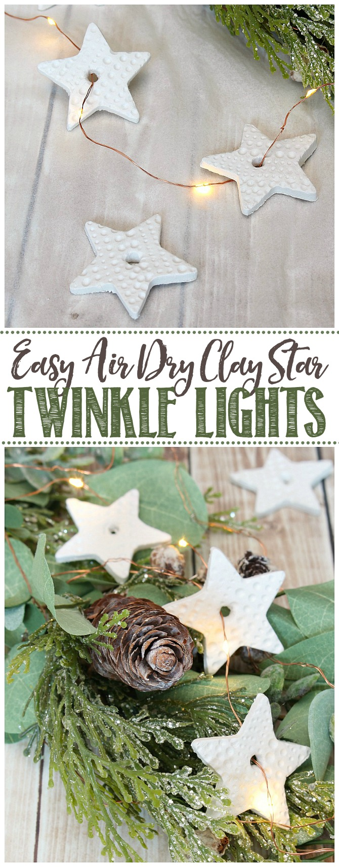 Air dry clay star lights added to a Christmas garland.