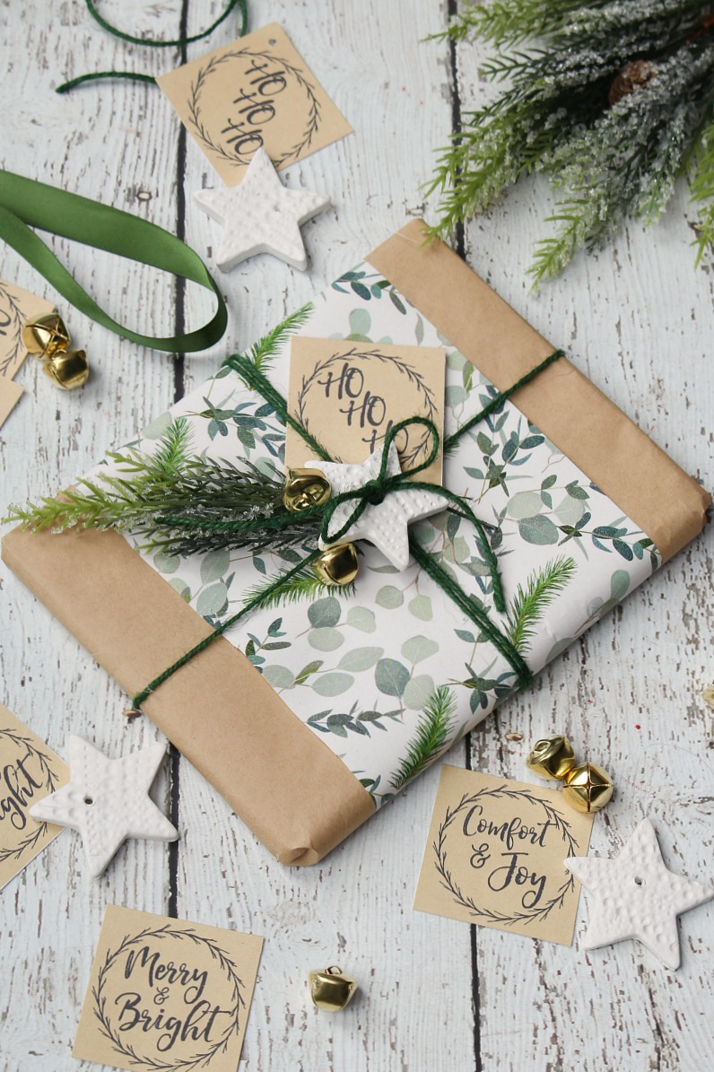 Pretty Christmas gift wrapping with free printable gift tags and white air dry stars.