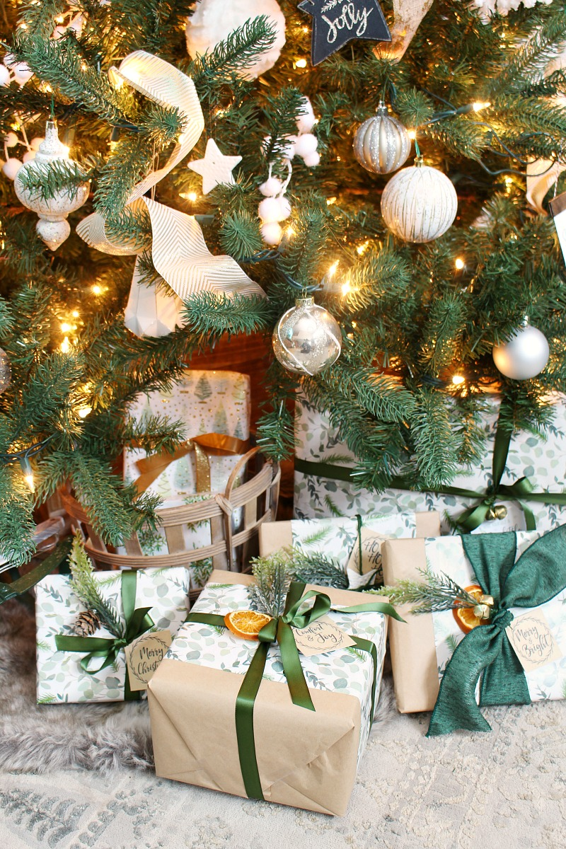Beautiful gift wrapping with greens and neutrals.