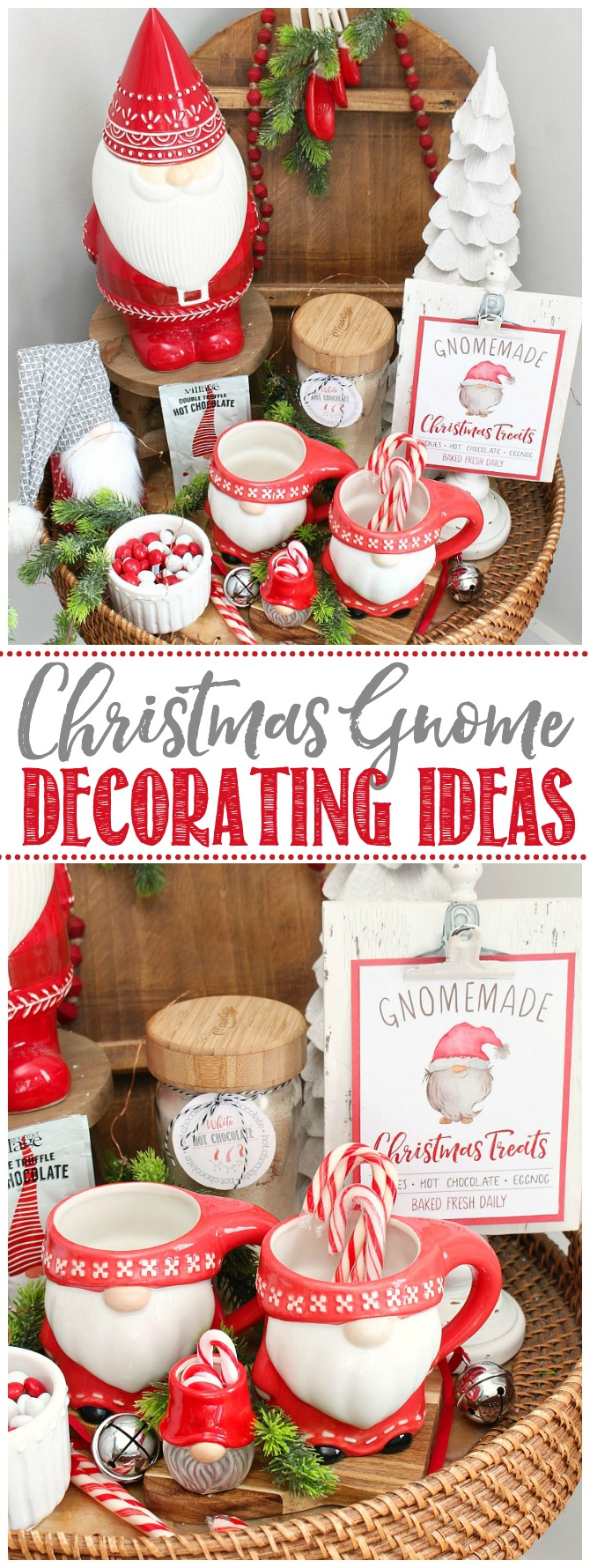 Cute Christmas gnome display in red and white.