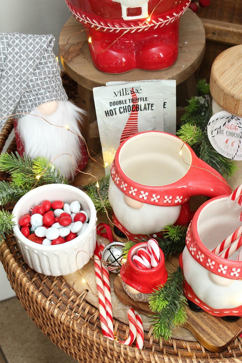Cute Christmas gnome display with gnome mugs.