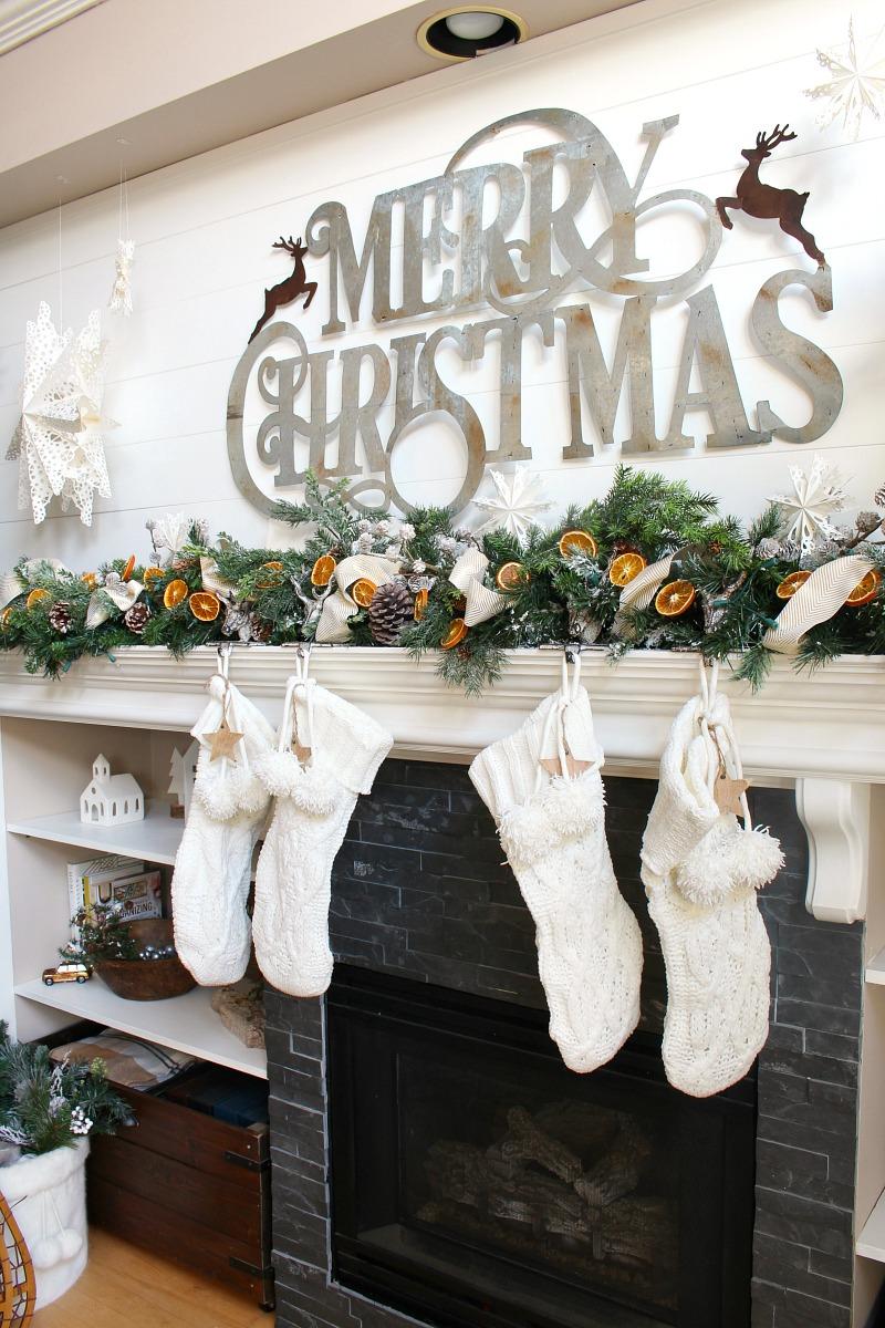 Christmas mantel with DIY dried orange garland.