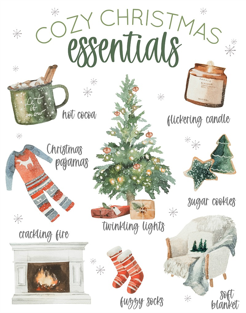 Cozy Christmas Essentials free Christmas printable.