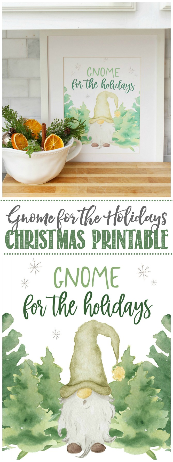 Gnome for the Holidays cute Christmas printable.