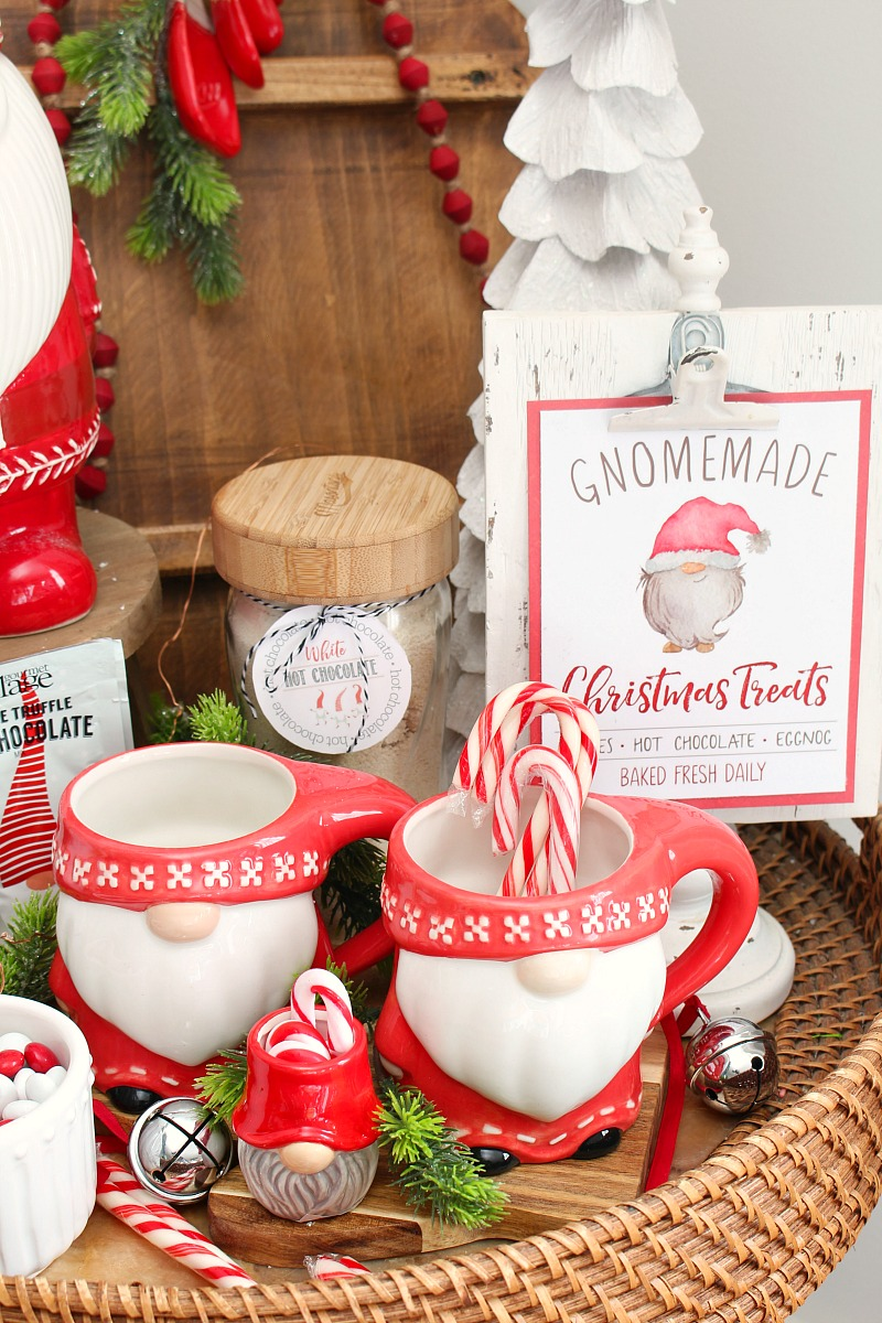Gnomemade Christmas Treats free Christmas printable and gnome display.
