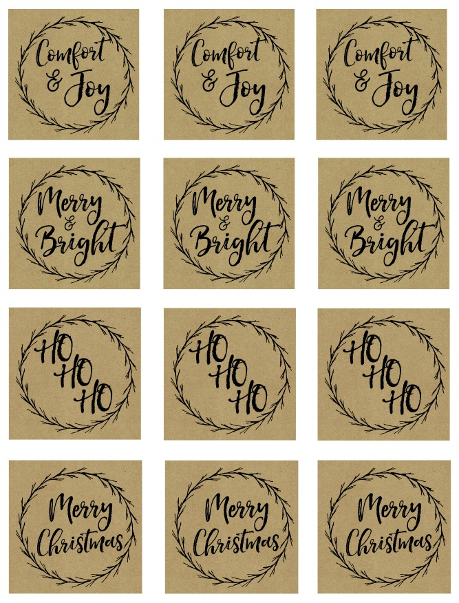 Kraft paper free printable Christmas gift tags.