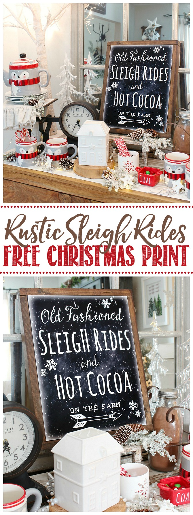 Chalkboard art Old Fashioned Sleigh Rides printable with a DIY canvas frame.
