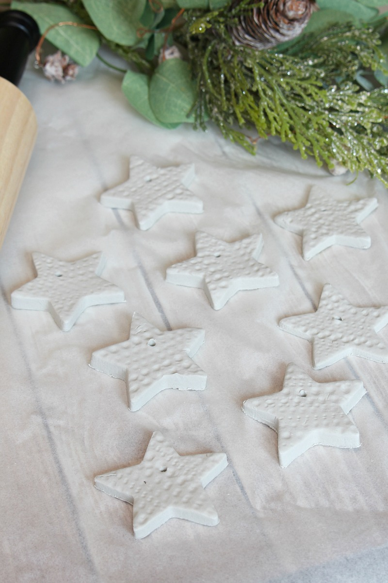 Air dry clay stars for Christmas decorations.