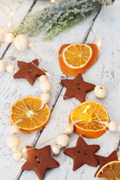DIY dried orange wood bead Christmas garland.