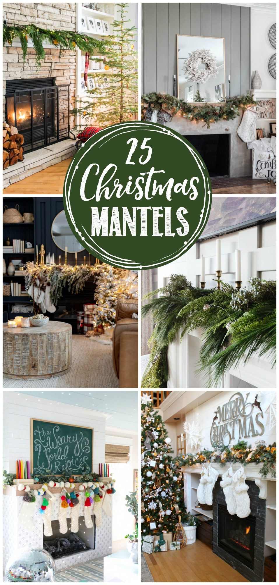 Collage of beautiful Christmas mantels designs.