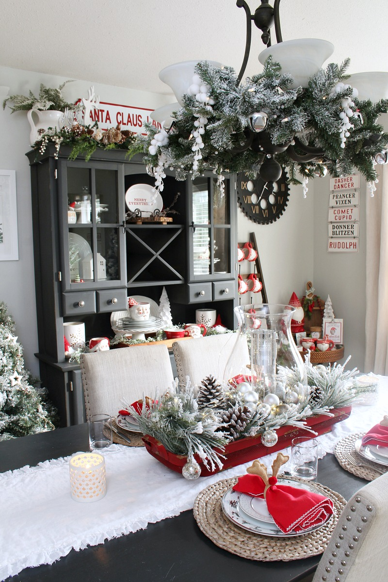 Christmas dining room and tablescape in red and white.