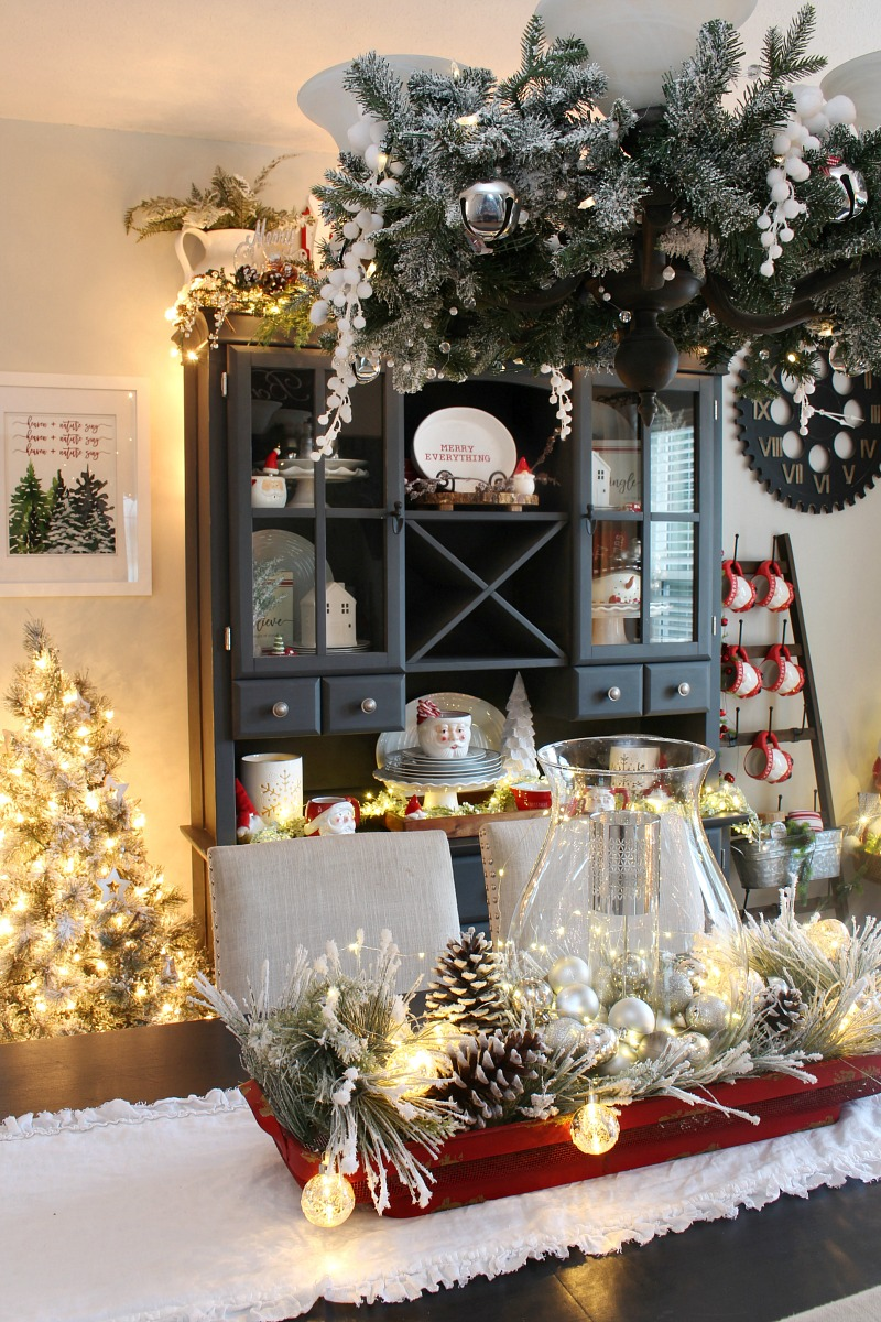 Christmas dining room decor with lights.