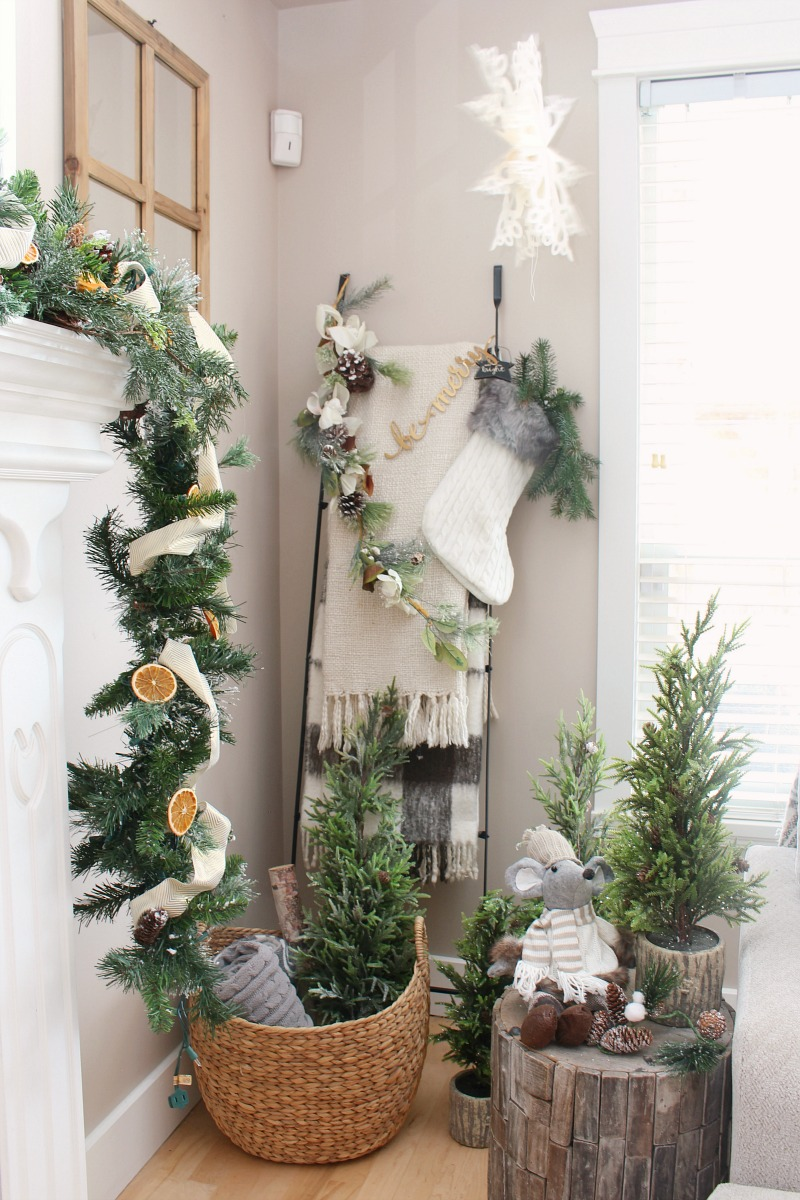 Christmas vignette with mini Christmas trees and blanket ladder.