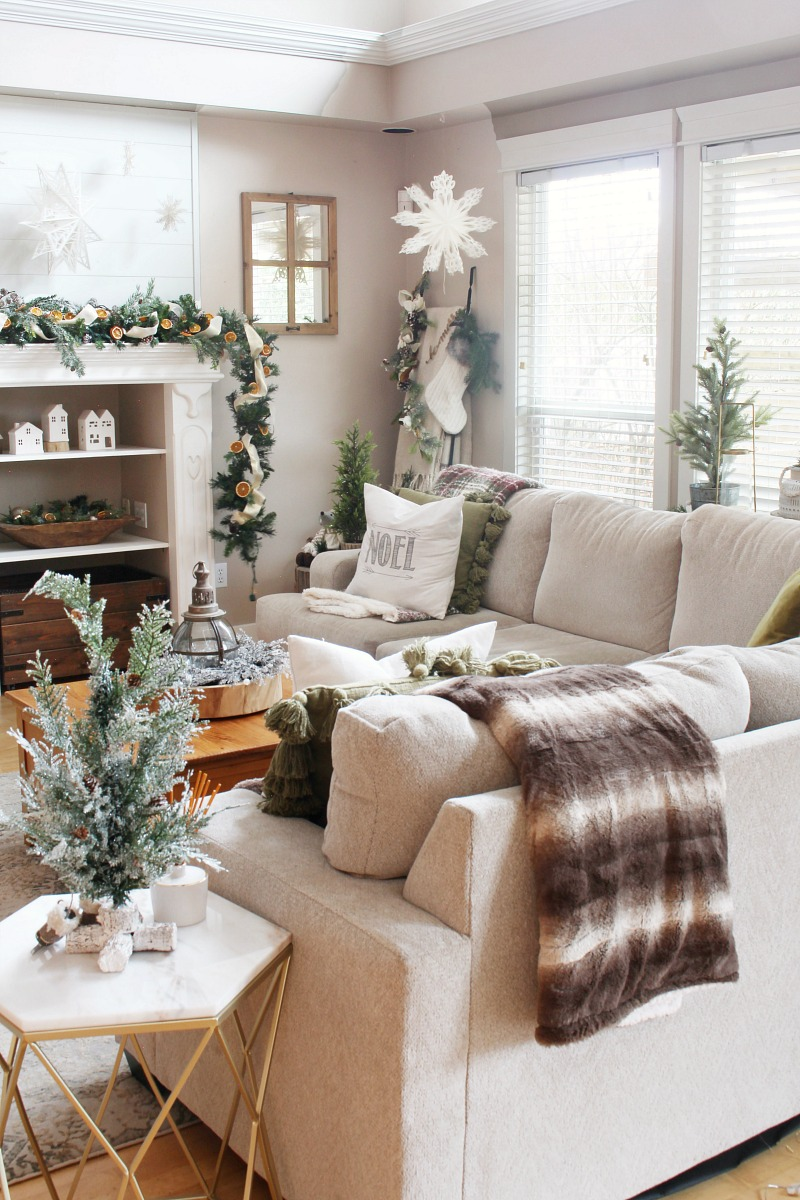 Christmas living room decor with sectional.