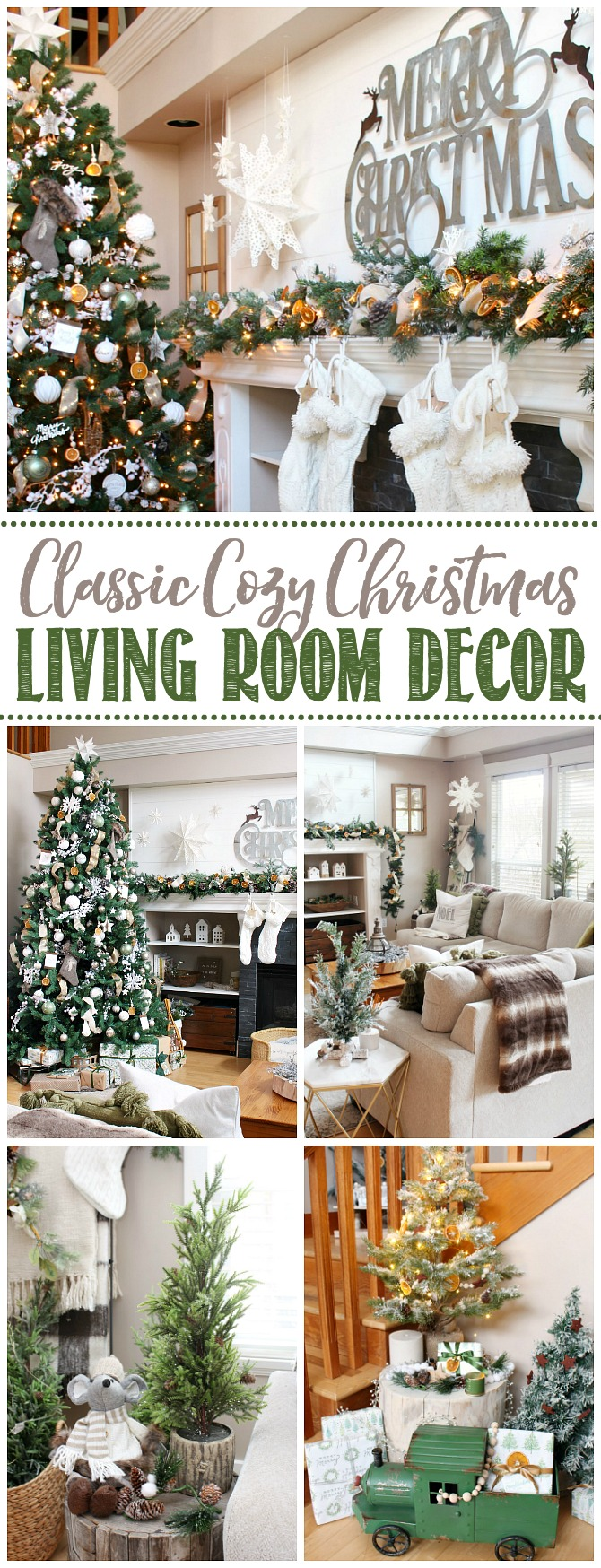 Collage of cozy Christmas decor ideas.