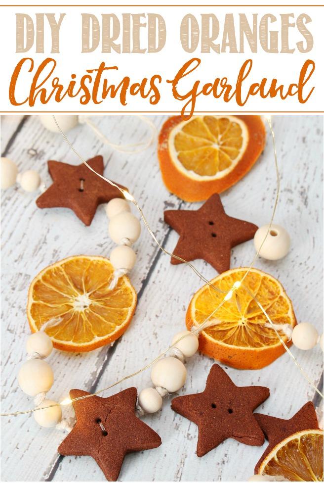 DIY dried orange wood bead Christmas garland.