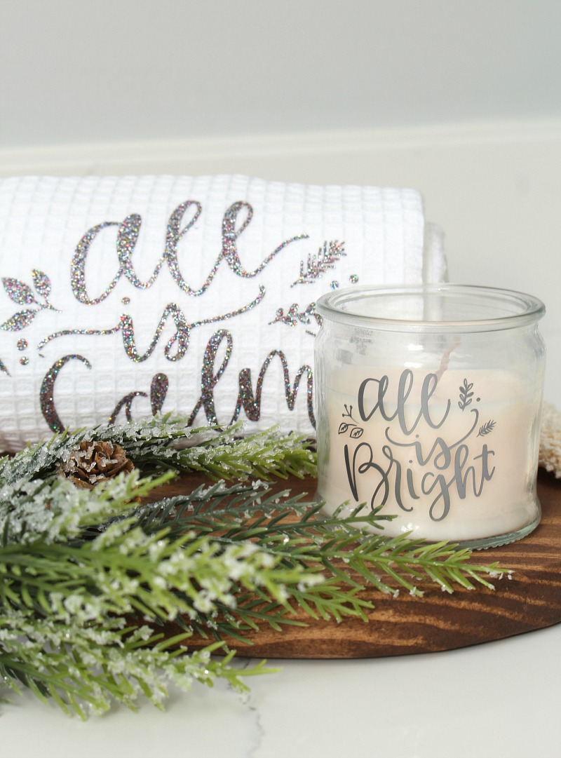 Cute All Is Calm, All Is Bright custom towel and candle set.