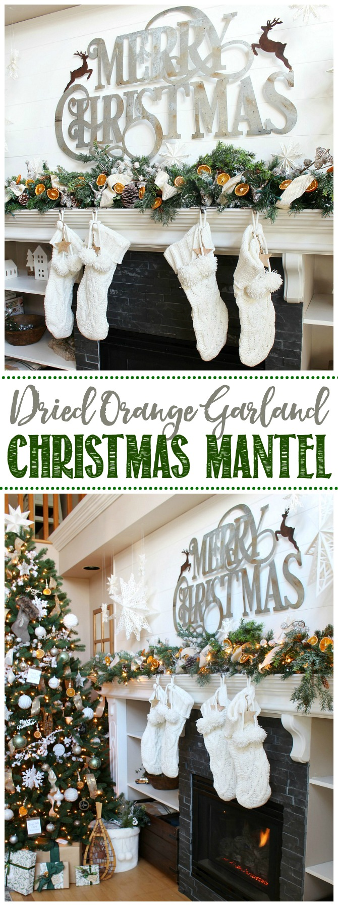 Christmas mantel decor with dried orange garland.