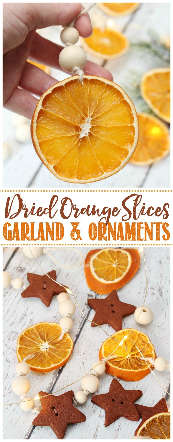 Dried orange slices Christmas garlands and DIY ornaments.