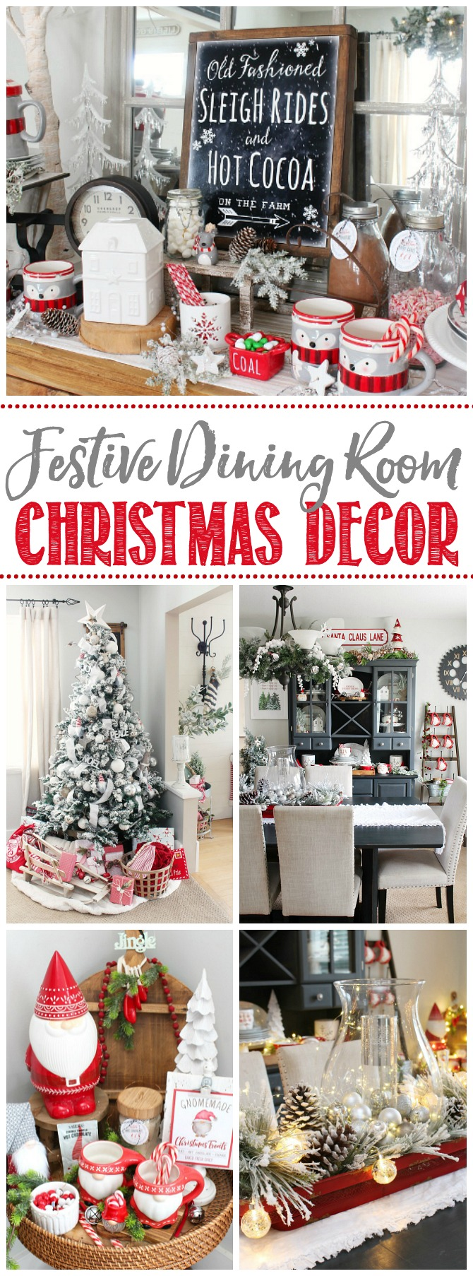 Collage of beautiful Christmas dining room decor ideas.