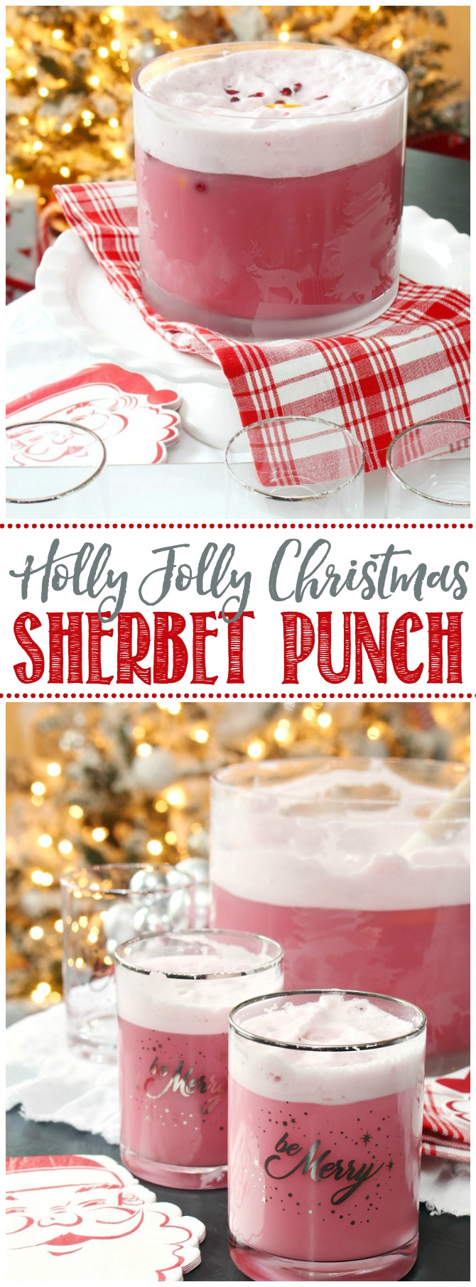 Delicious Christmas sherbet punch in a glass punch bowl with Santa napkins.
